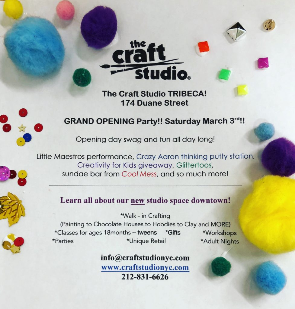 The Craft Studio Tribeca Grand Opening Day Party!