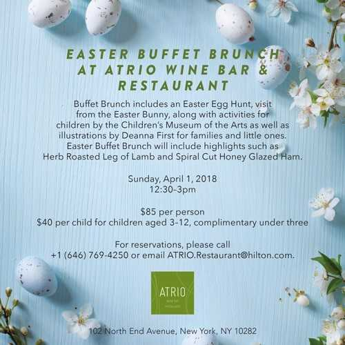 Easter Brunch at ATRIO Wine Bar & Restaurant