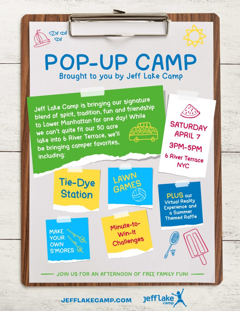 Summer Camp Pop Up in Battery Park City – April 7