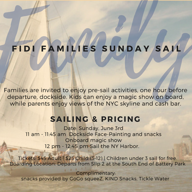 FiDi Families Sunday Sail on the Clipper City with Manhattan by Sail in Battery Park!