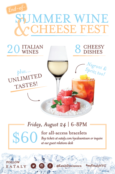 End-of-Summer Wine & Cheese Fest at Eataly Downtown