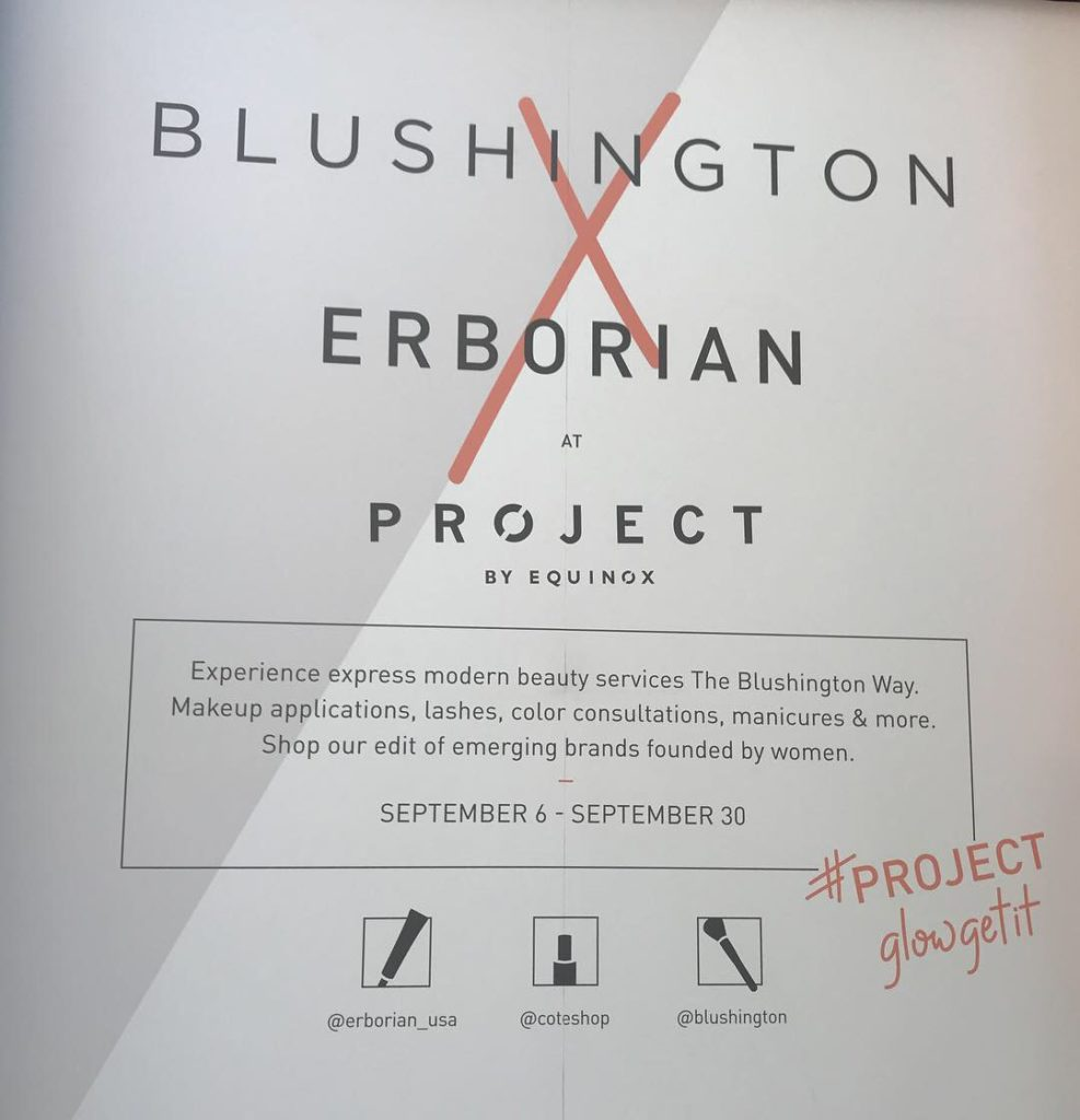 Blushington x Erborian Pop Up with Project by Equinox in SoHo!