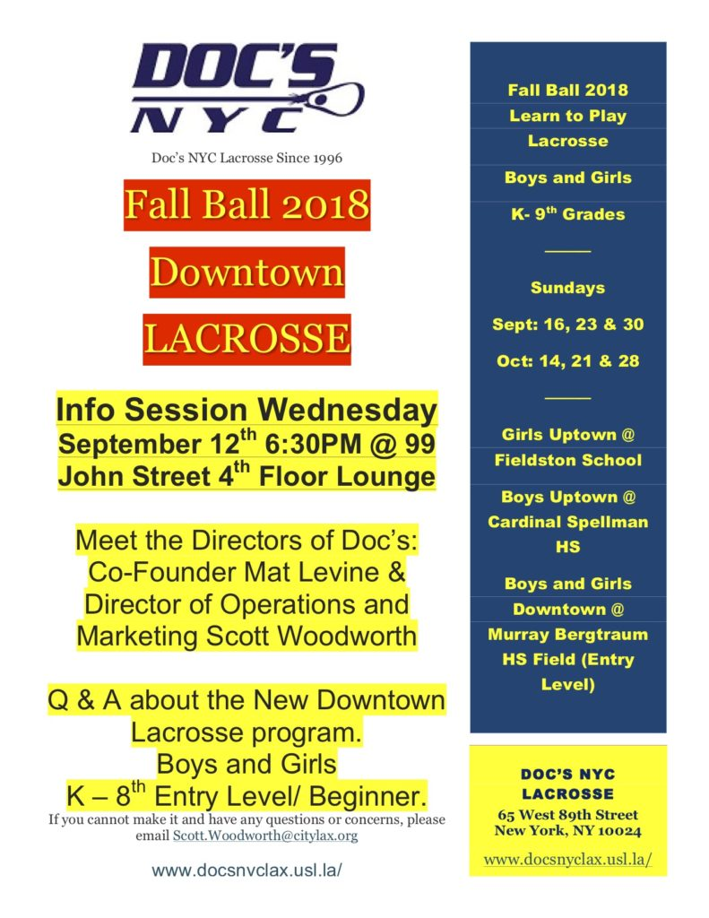 DOC's NYC Lacrosse Info Session in FiDi (Kindergarten - 8th Grade)