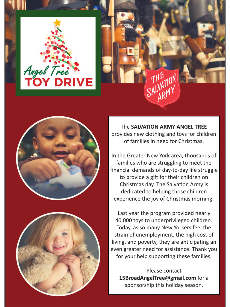 Salvation Army Angle Tree - Clothing and Toy Drive in FiDi