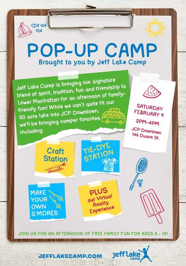 Come play at Jeff Lake Camp Pop-Up Camp!