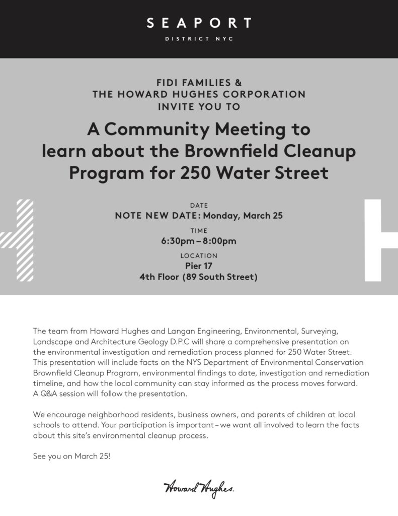250 Water Street - Brownfield Cleanup Community Meeting