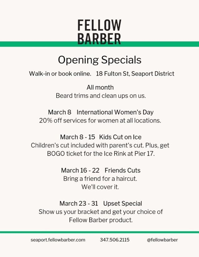 Fellow Barber Opens at the Seaport (March Specials)