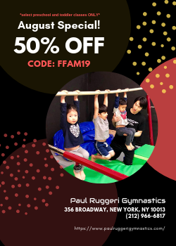 Save 50% on 2019-2020 Gymnastics Tuition for your Toddler/Pre-Schooler