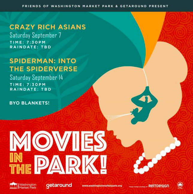 Friends of Washington Market Park Present: Movies in the Park on September 7th and September 14th