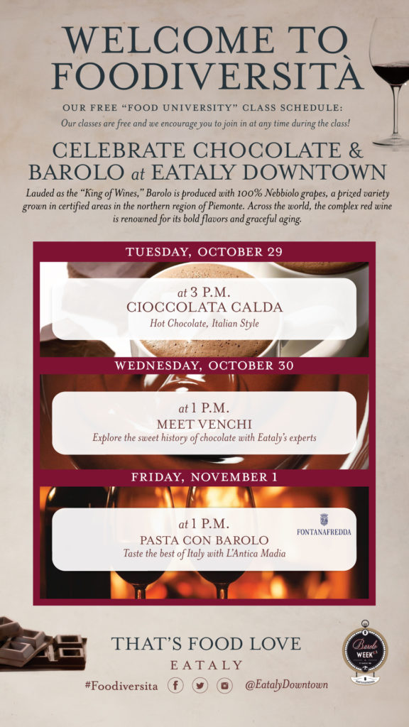 Celebrate Chocolate and Barolo at Eataly Downtown