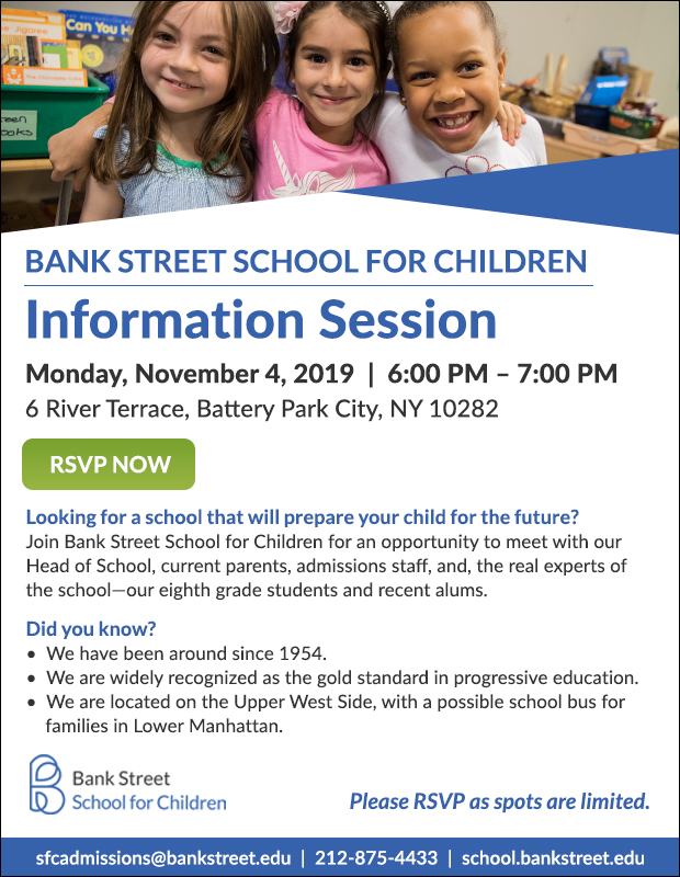 Bank Street School Information Session in Battery Park (TONIGHT)