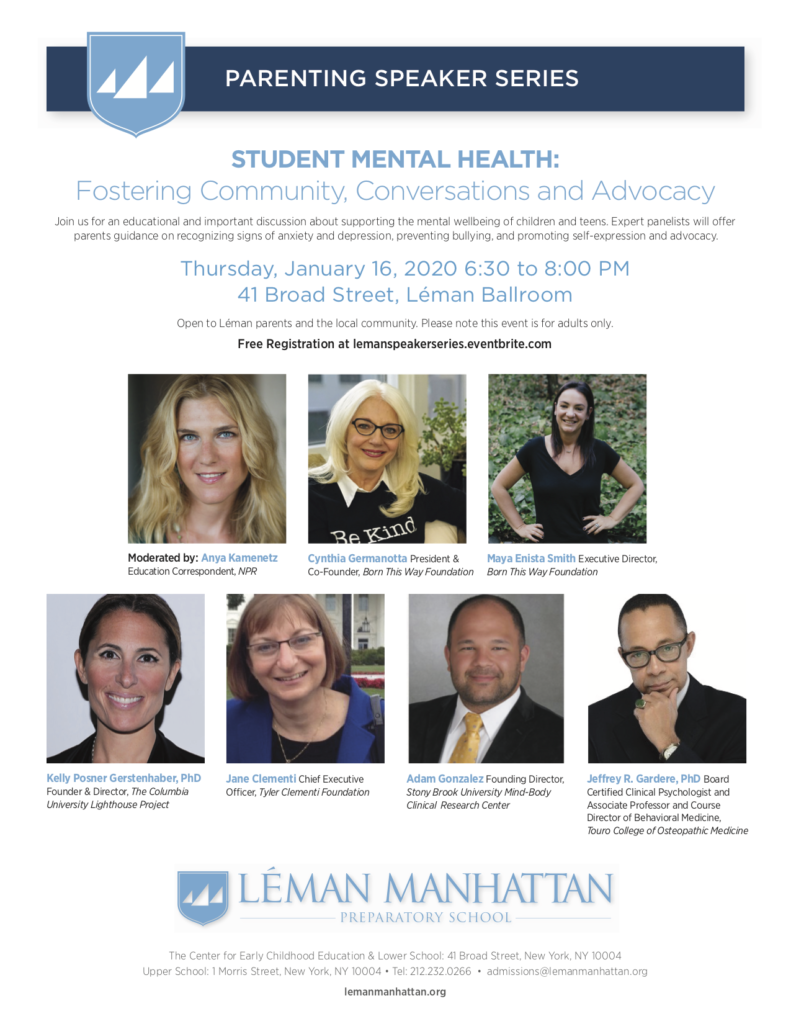Léman Manhattan Parenting Speaker Series - Students Mental Health (FREE Community Event)
