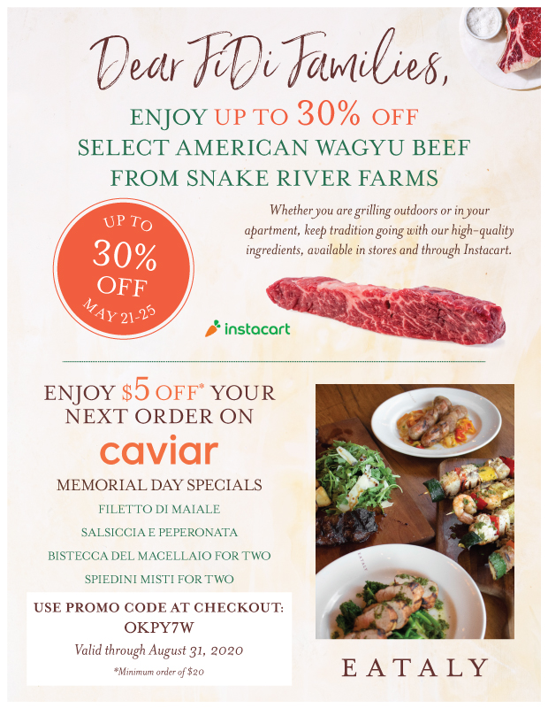 Memorial Day Weekend Promo with Eataly...Wagu Weekend!