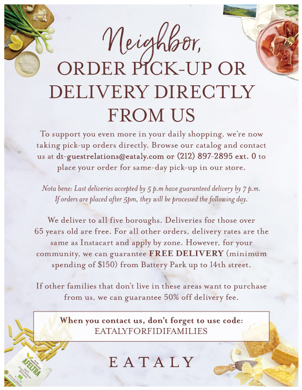 Eataly Offers Pick Up and Delivery Options - Mention FiDi Families for Free Delivery