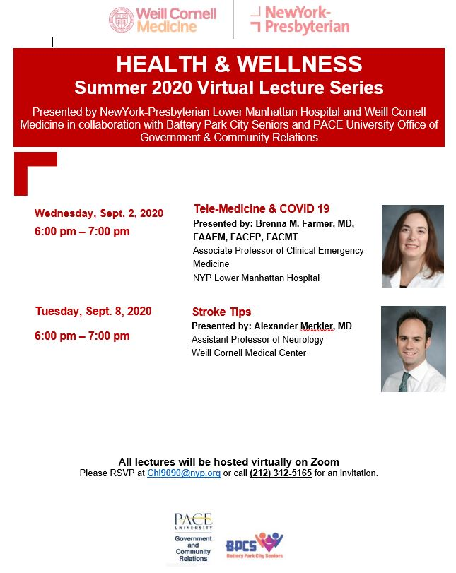 September Health & Wellness lecture series with NY Presbyterian Hospital Lower Manhattan