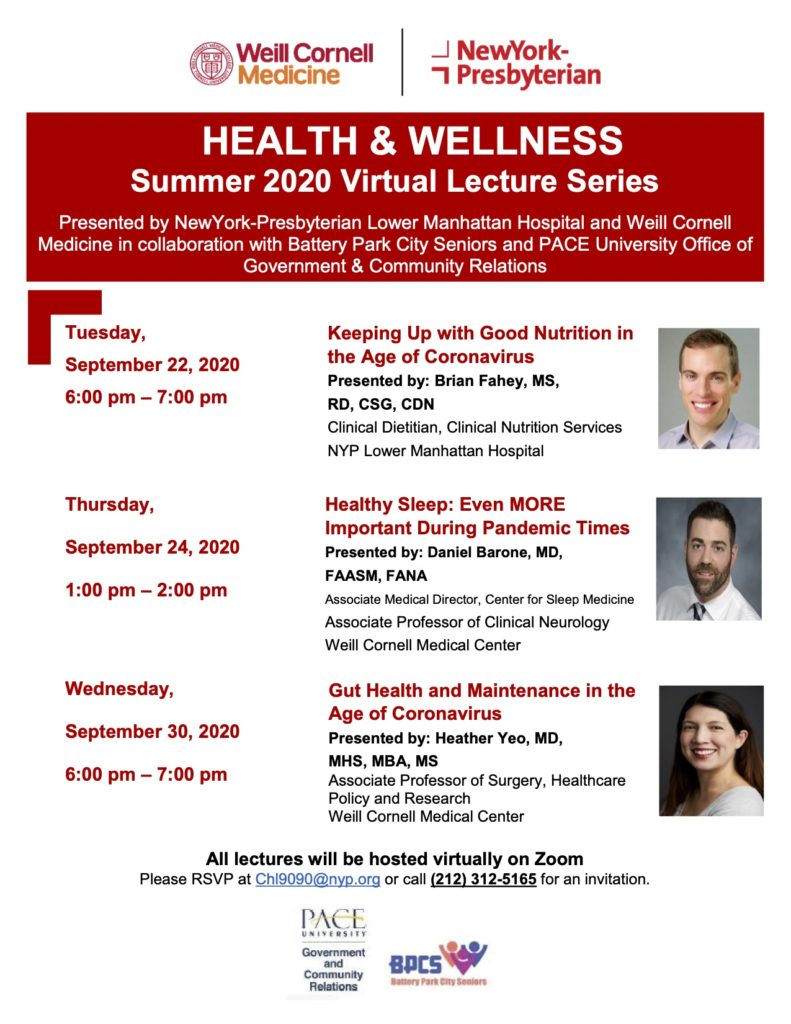 NY Presbyterian Lower Manhattan Hospital - Health & Wellness Virtual Lecture Series