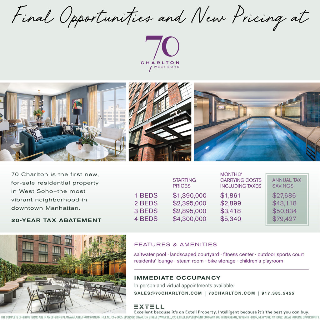 New Pricing and Final Opportunities at 70 Charlton